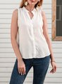 Concealed Button Down Neckline Tops Tanks