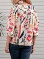 Apricot 3/4 Sleeve Patchwork V Neck Shirts & Tops