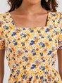 Yellow Floral-Print Square Neck Casual Floral Dress