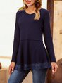 Blue Long Sleeve Plain V Neck Shirts & Tops