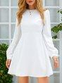 White Plain Date Long Sleeve Dress