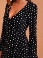Black Vintage V Neck Polka Dots Dress