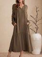 Green Long Sleeve Plain Casual Dress