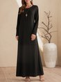 Black Long Sleeve Solid Crew Neck Maxi Dress