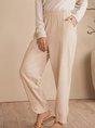 Beige Solid Cotton Casual Shift Pants