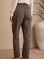 Gray Green Shift Pockets Plain Casual Pants