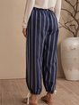 Blue Stripes Shift Pockets Casual Pants