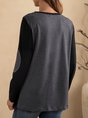 Gray Long Sleeve Color-Block Shift Top