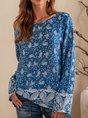 Blue Shift Printed Long Sleeve Tribal Top