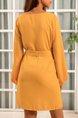 Ginger Yellow Balloon Sleeve Chiffon Mini Dresses