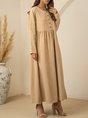 Apricot Shift Long Sleeve Plain Maxi Dress
