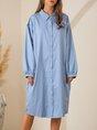 Blue Shirt Collar Shift Casual Mini Dress