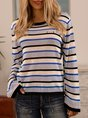 Blue Long Sleeve Cotton-Blend Casual Sweater