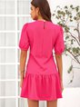Short Sleeve Polyester Cotton Dress