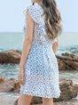V Neck Sky Blue Navy Shift Mini Dress