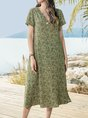 Sundress Short Sleeve Floral V Neck Maxi Dress