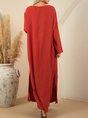 Long Sleeve V Neck Pockets Maxi Dress