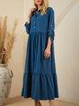 Blue Plain Long Sleeve Casual Shirt Collar Dress