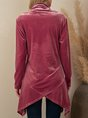 Pink Casual Plain Long Sleeve Top