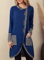 Blue Casual Long Sleeve Shift Stripes Top