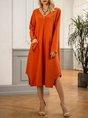 Orange Casual A-Line V Neck Dress