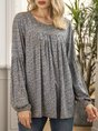 Flower Shift Crew Neck Long Sleeve Floral Top