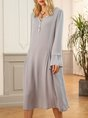 Gray V Neck Long Sleeve Casual Dress