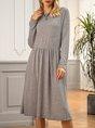 Grey Long Sleeve Crew Neck Midi Dress