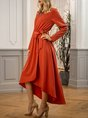 Red Brown Solid Long Sleeve Casual Maxi Dress