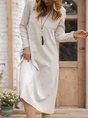 Gray Casual Long Sleeve Cotton V Neck Dress