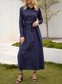 Simple Shift Daily Long Sleeve Midi Dress