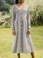Shift Casual Long Sleeve Midi Dress