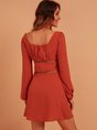 Red Long Sleeve Solid Mini Dress