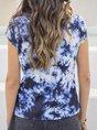 Navy Blue Ombre/Tie-Dye Short Sleeve Top