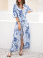 Sundress Blue Boho Slit Maxi Dress