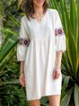3/4 Sleeve V Neck Casual Embroidered Dress
