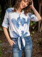 Cotton-Blend Casual Shirt Collar Floral Top