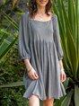 Square Neck Mini Dresses Swing Date Cotton-Blend Dress