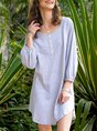 Casual Cotton-Blend Shift Dress