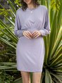 Gathered Crew Neck Casual 3/4 Sleeve Dress