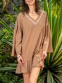 3/4 Sleeve Appliqued Casual Shift Dress
