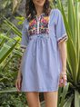Boho Short Sleeve Embroidery Crew Neck Dress