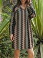 V Neck Floral-Print Vintage Cotton-Blend Dress