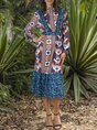 Shift Cotton-Blend 3/4 Sleeve Vintage Dress
