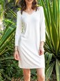 Cotton-Blend Shift Long Sleeve Plain Dress
