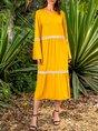 Paneled Long Sleeve Cotton-Blend Dress