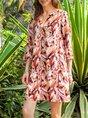 V Neck Shift 3/4 Sleeve Sweet Dress